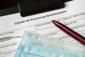 COVID-19 screening questionnaire, part of dental safety protocol